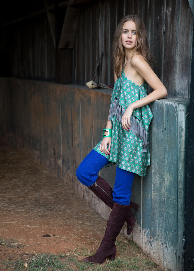 The Woodberry Fringe Top in JR Green Print