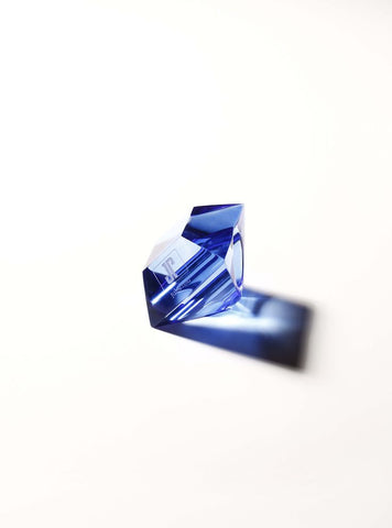 The Lucite Rock Ring in Deep Blue