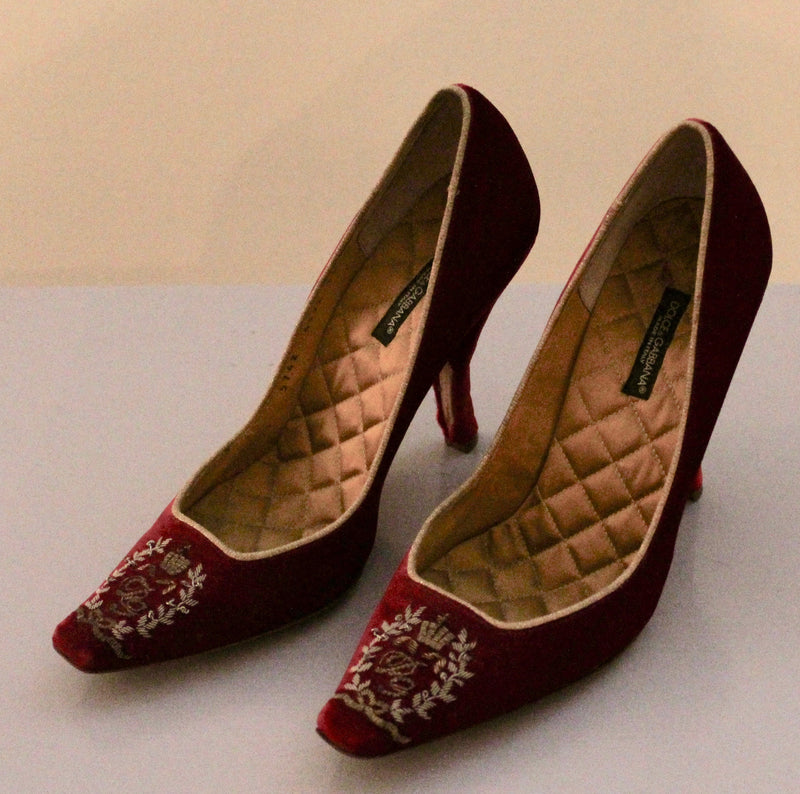 Dolce & Gabbana Red Velvet Shoes