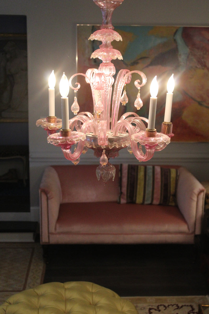 Pink Murano Glass Chandelier