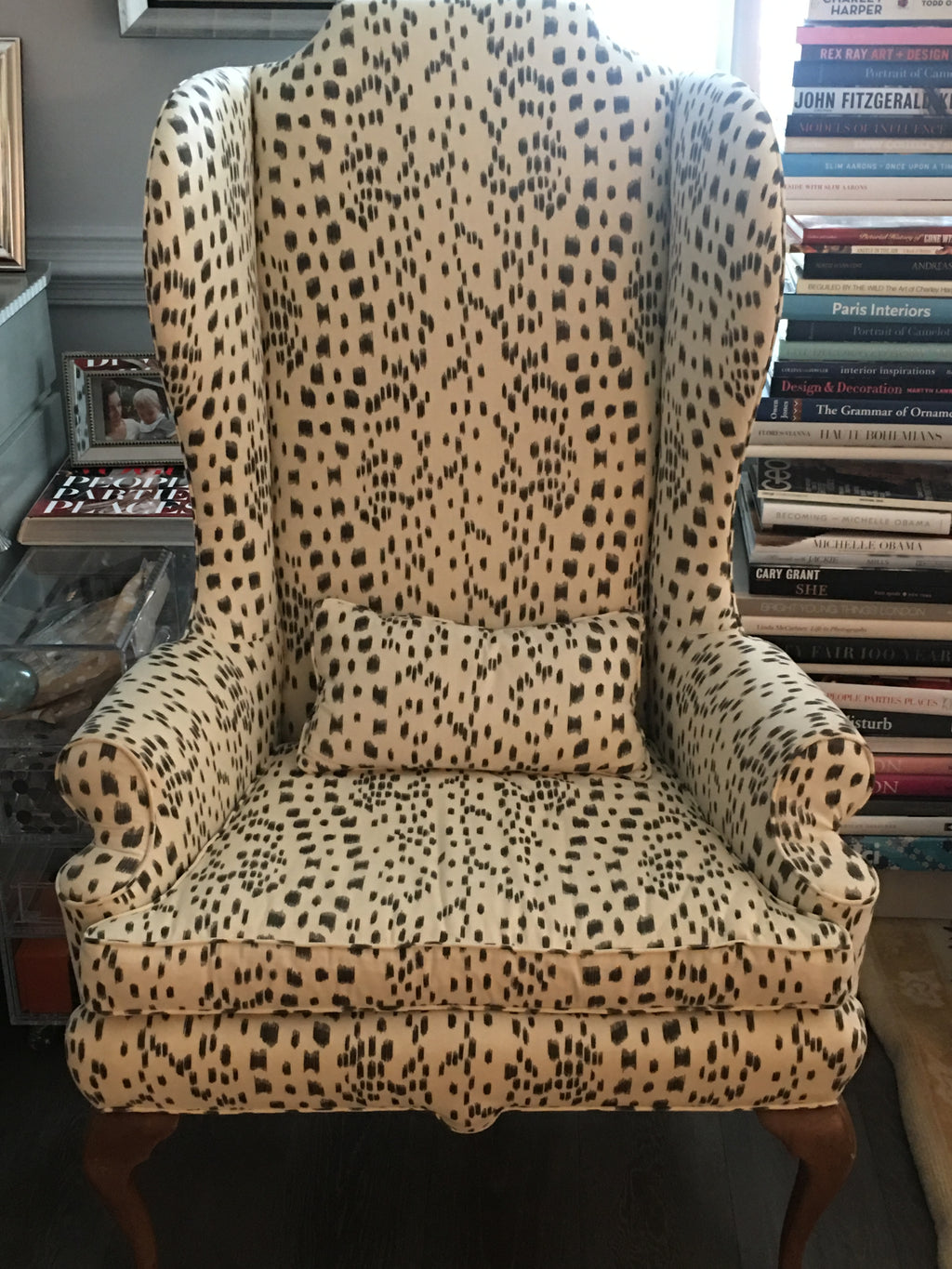 Antique English Wing Chair in Brunswig & Fils
