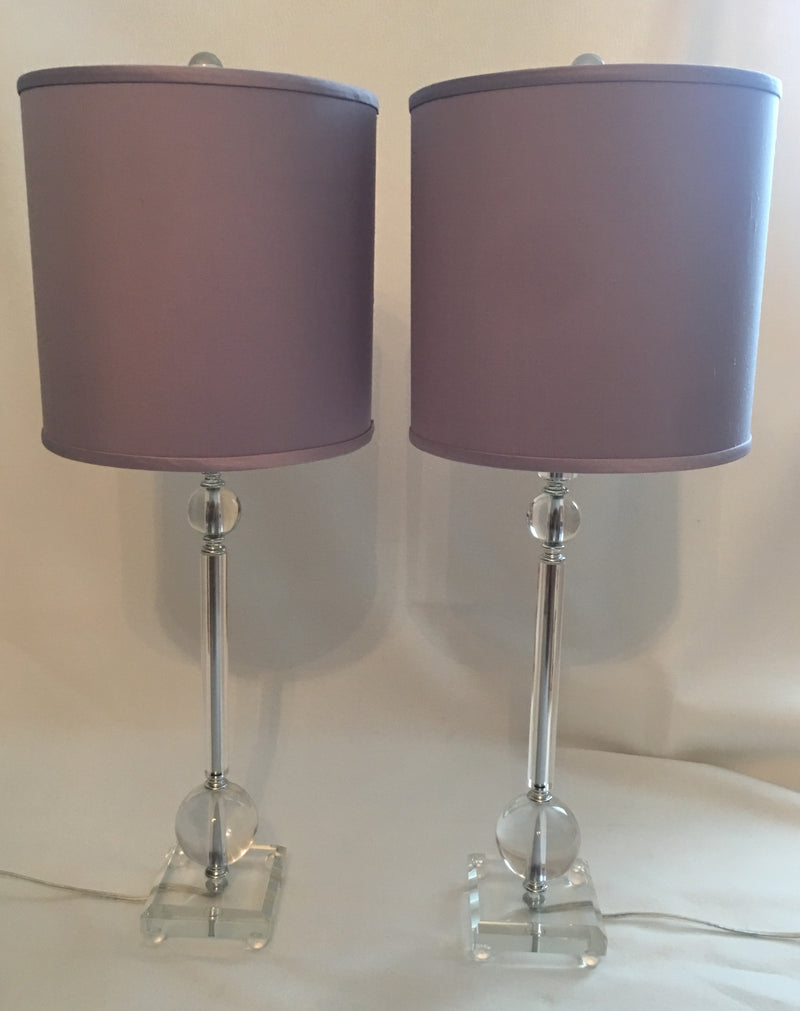 Pair of Lucite Lamps with Lavender Shades