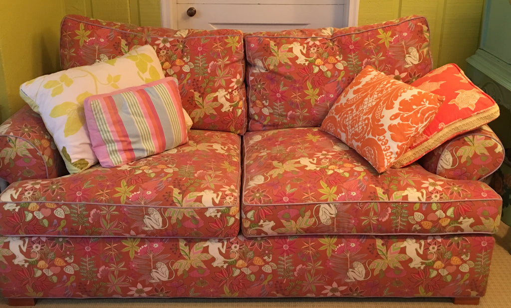 Loveseat in Jungle Monkey print Sofa