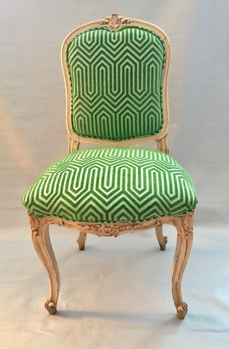 Antique Chevron Velvet Chair