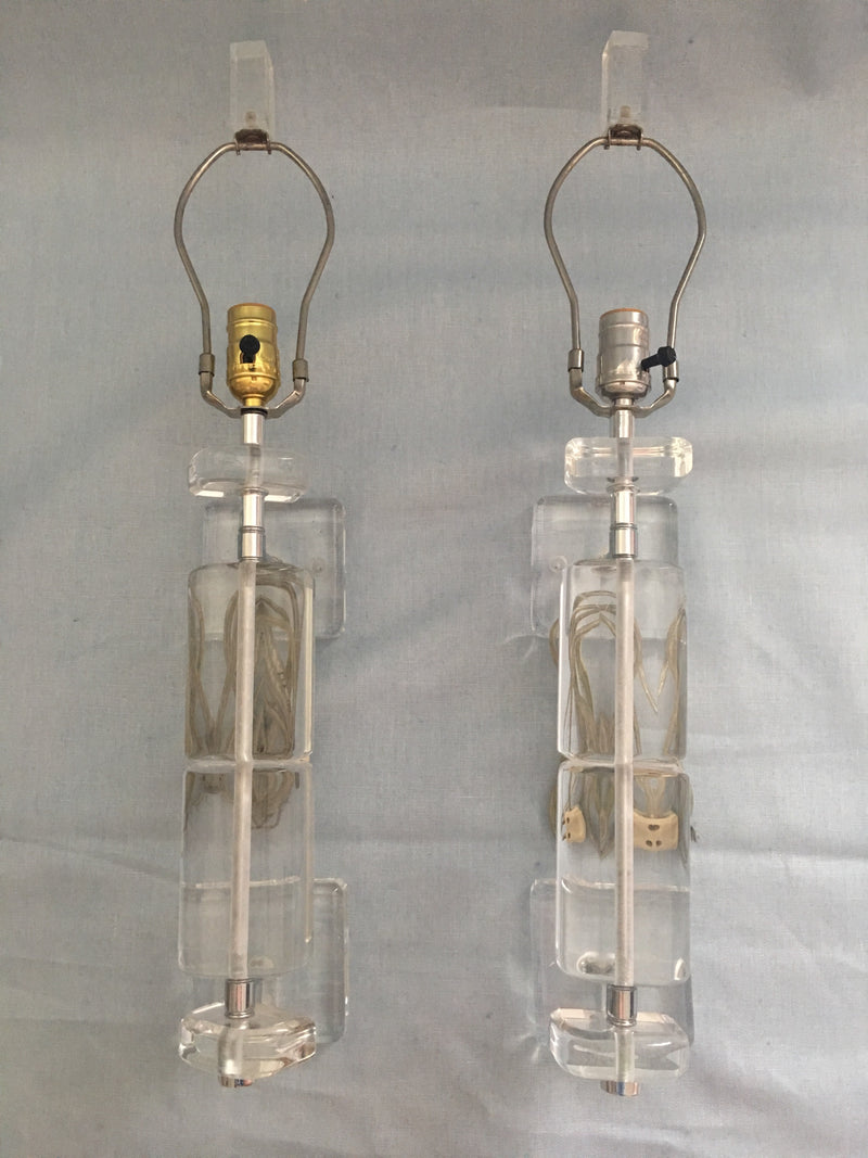 Pair of Vintage Lucite Sconces