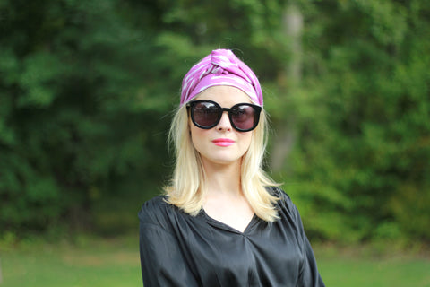 The Libbie Headscarf in Purple Spikey Ikat