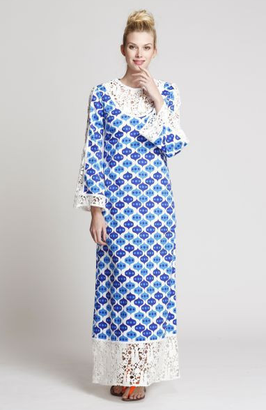 The India Housecoat in Blue Lantern