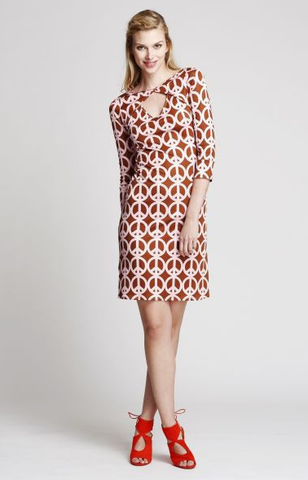 The Jaipur short dress in Brown Peace