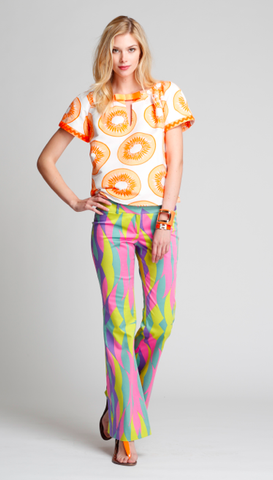The Isabel Pants in Orange Kiwi