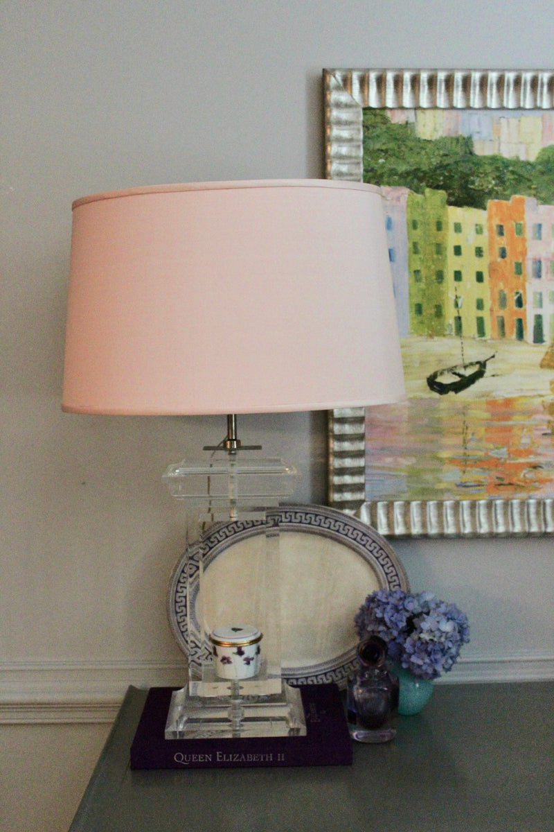 Vintage Lucite Lamp with Pink Round Shade