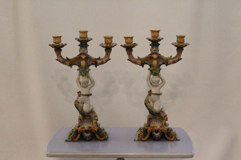 Pair of Italian Ceramic Candelabras