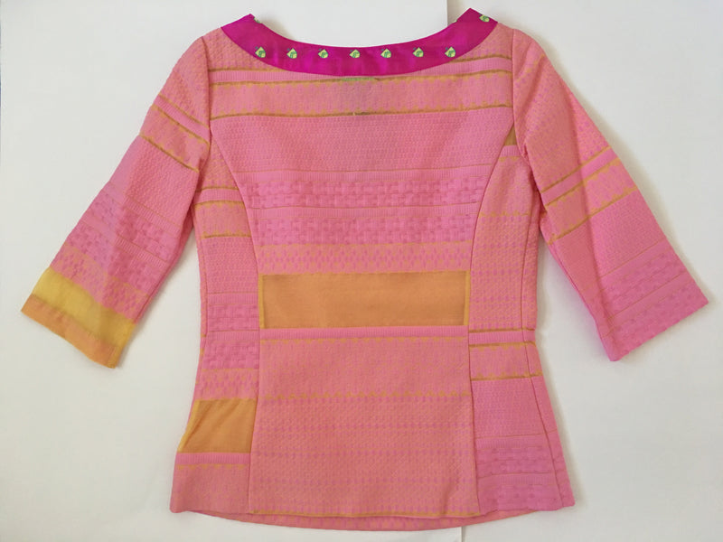 The Marie Antoinette Top with Pink Crest Collar