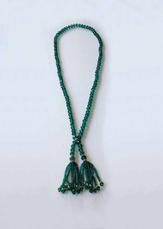 The Julia Beaded Tassel in Emerald Green