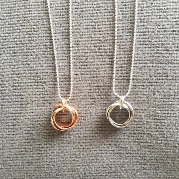 Triple Love Necklace - Silver or Rose Gold Plated