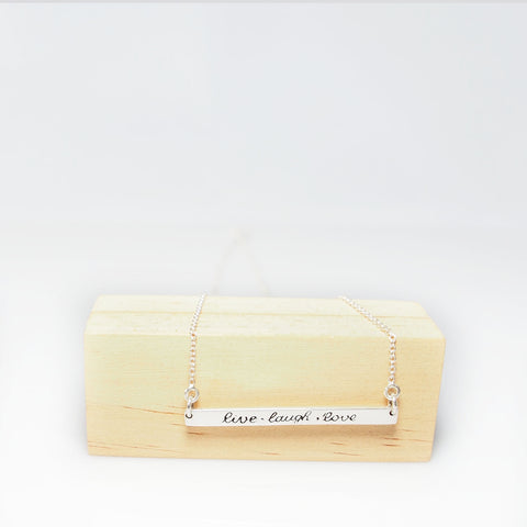 'Live Laugh Love' Bar Necklace