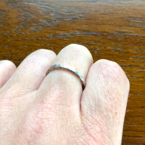 Silver Dinted Stacking Ring