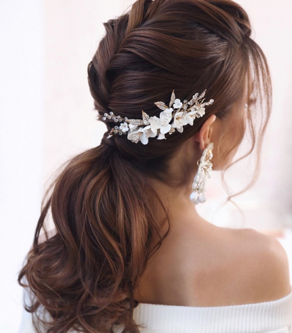 textured romantic hair updo asian bridal pretty ponytail for long hair