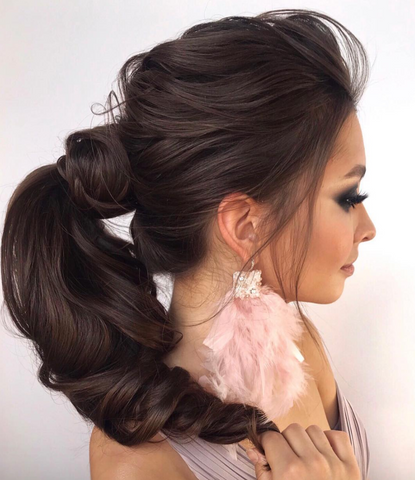 textured romantic hair updo asian bridal pretty pony tail for long hair