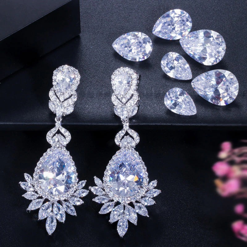 Cubic Zirconia Dangle Earrings - Jewelry for the Bride