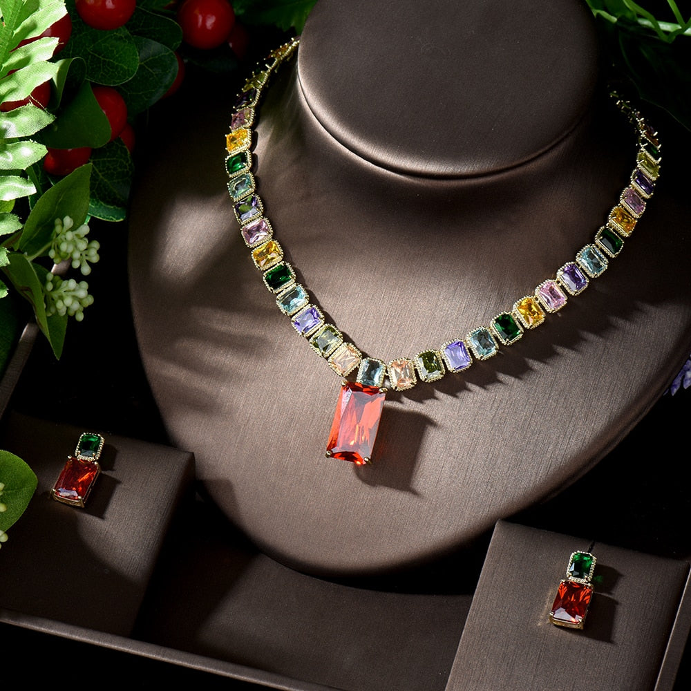 Multicolour Cubic Zirconia Bridal Jewellery Set - Jewelry for the Bride