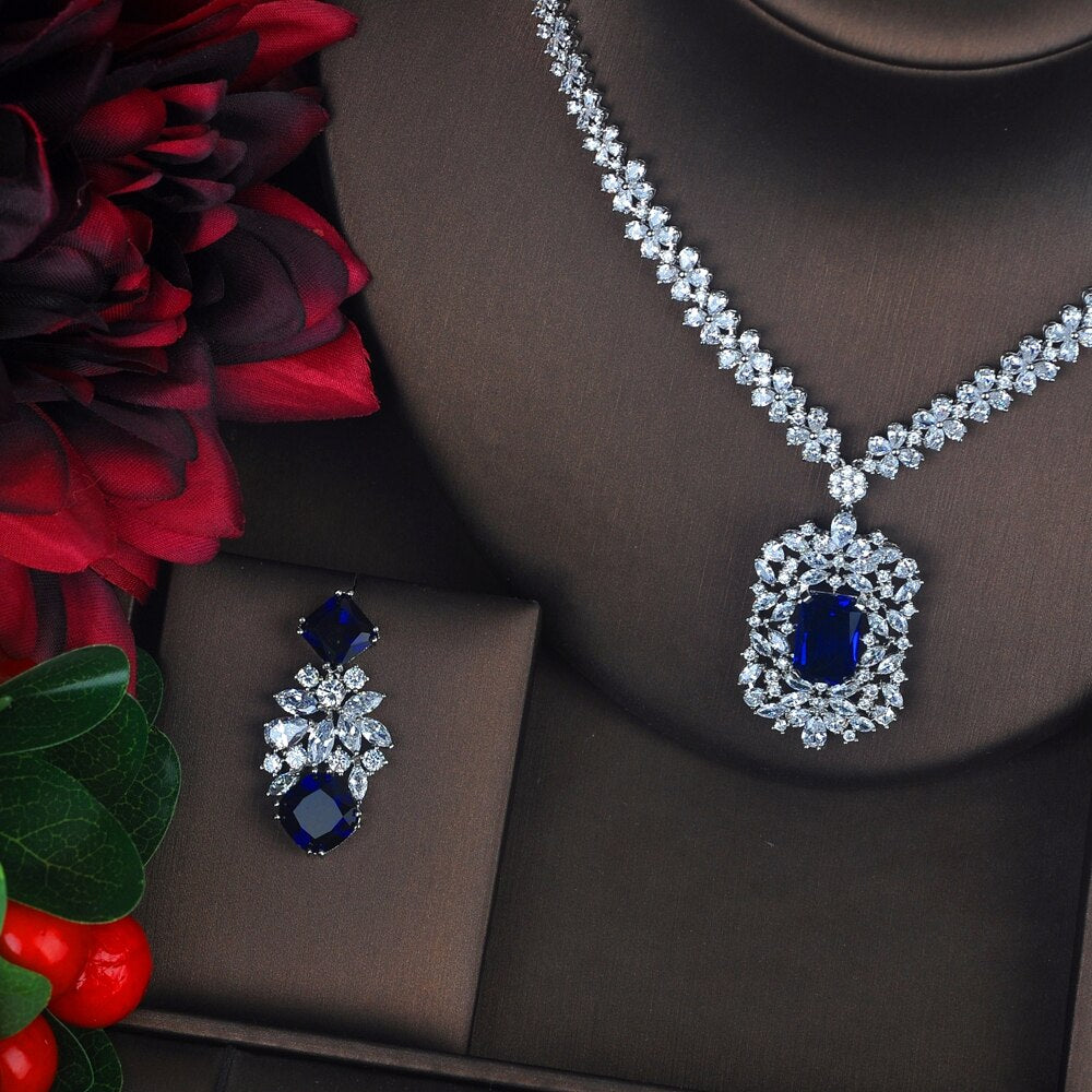 Cubic Zirconia Bridal Earrings & Necklace Jewelry Set