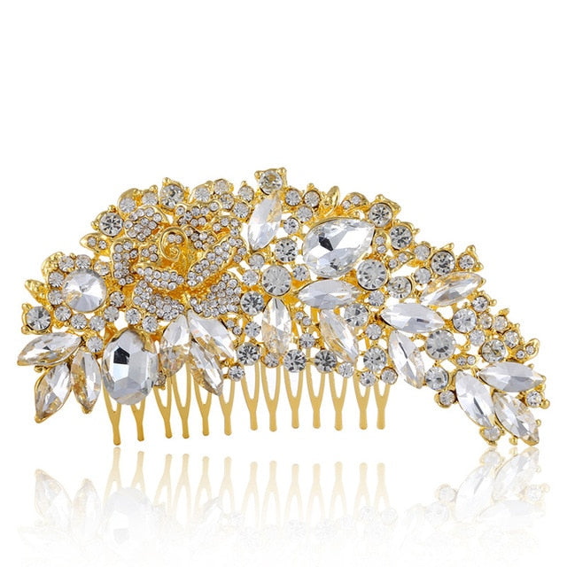 Wedding Crystal Hair Comb Gold- Bridal Combs for Hair