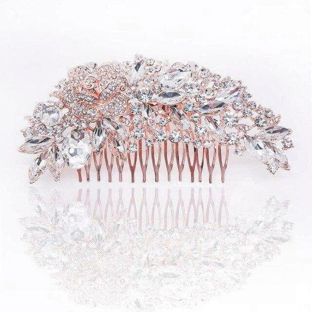 Wedding Crystal Hair Comb Rose gold - Bridal Combs for Hair