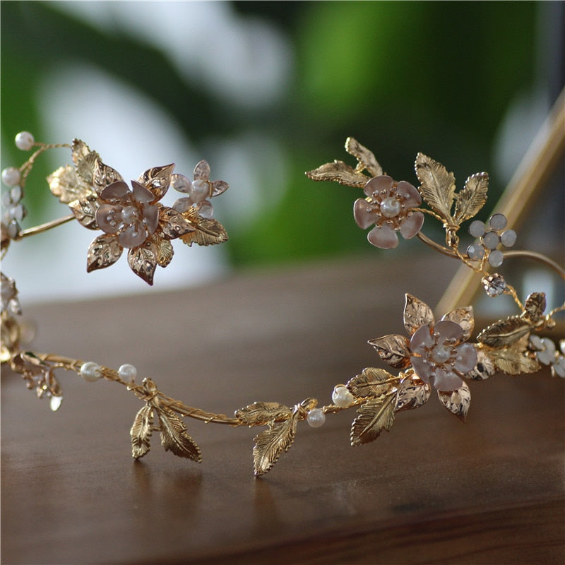 Gold Leaves Vintage Pearl Headpiece - Wedding Hair piece for brides