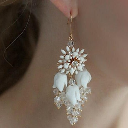 White Floral Bridal Drop Earrings - Wedding Jewellery for Bride