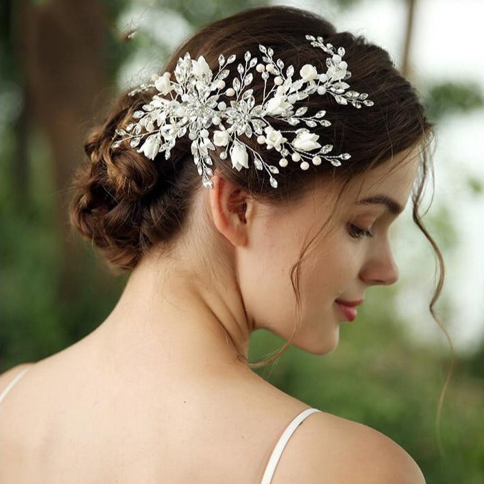 Luxury Floral Pearl & Crystal Hairpiece for Brides & Bridesmaids