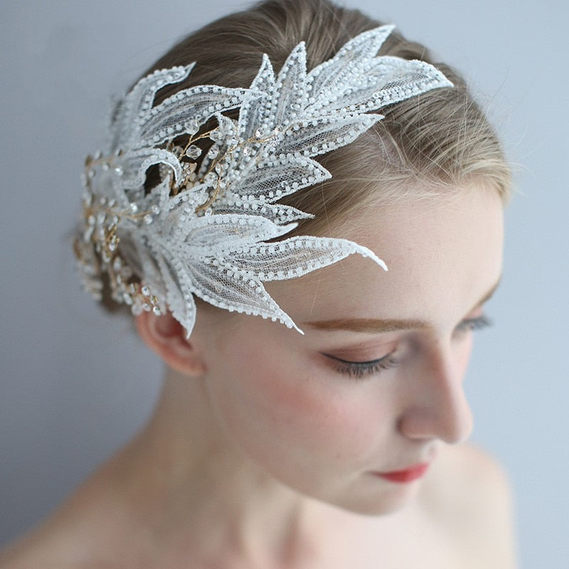 Beaded Bridal Lace Hair piece - Hair Accessories for a Wedding