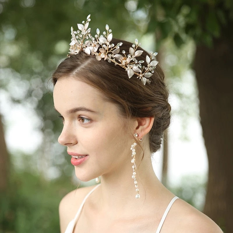 Gold Crystal & Pearl Bridal Tiara with Earrings