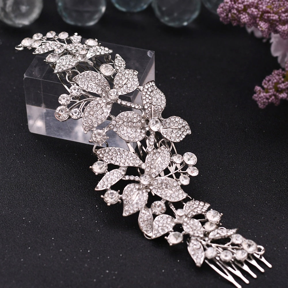 silver floral comb hair pieces for wedding