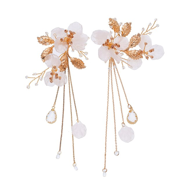 Gold Freshwater Pearl Hair Comb & Earrings