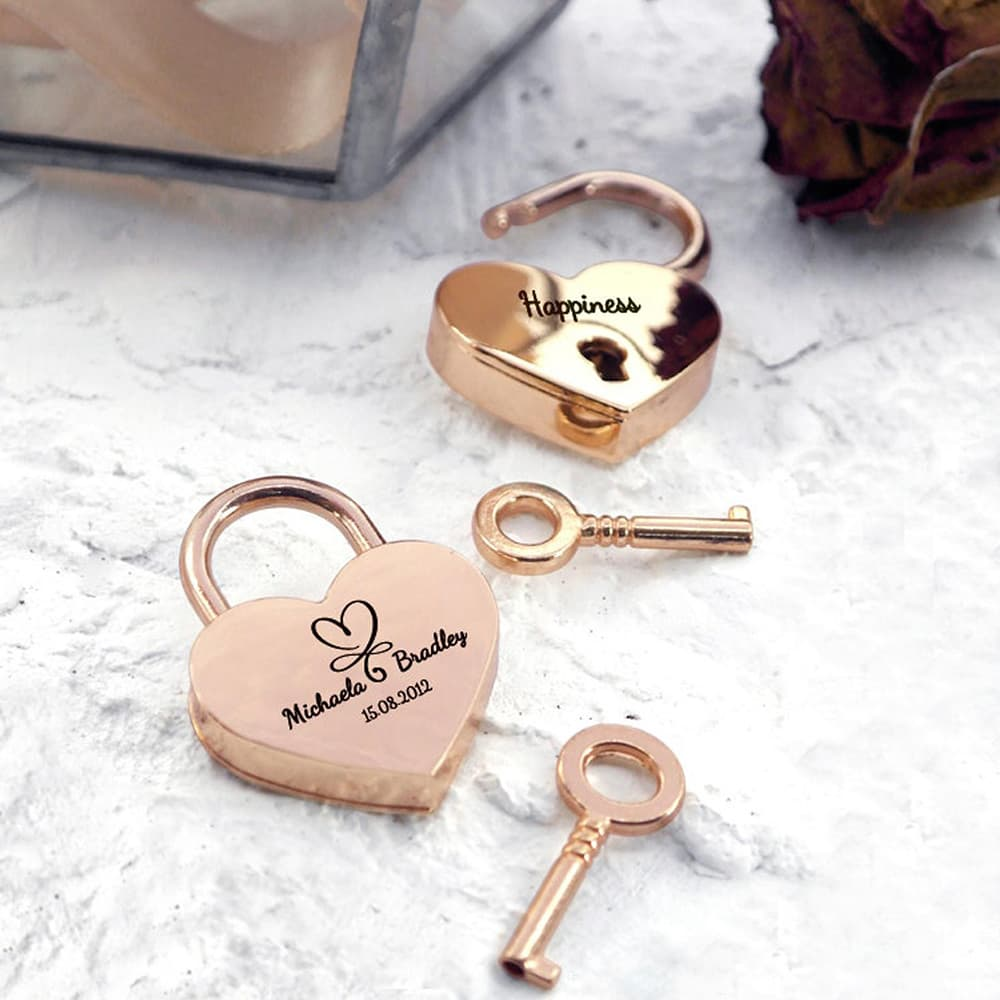Personalised Engraved Heart Padlock - Romantic Gifts for Her