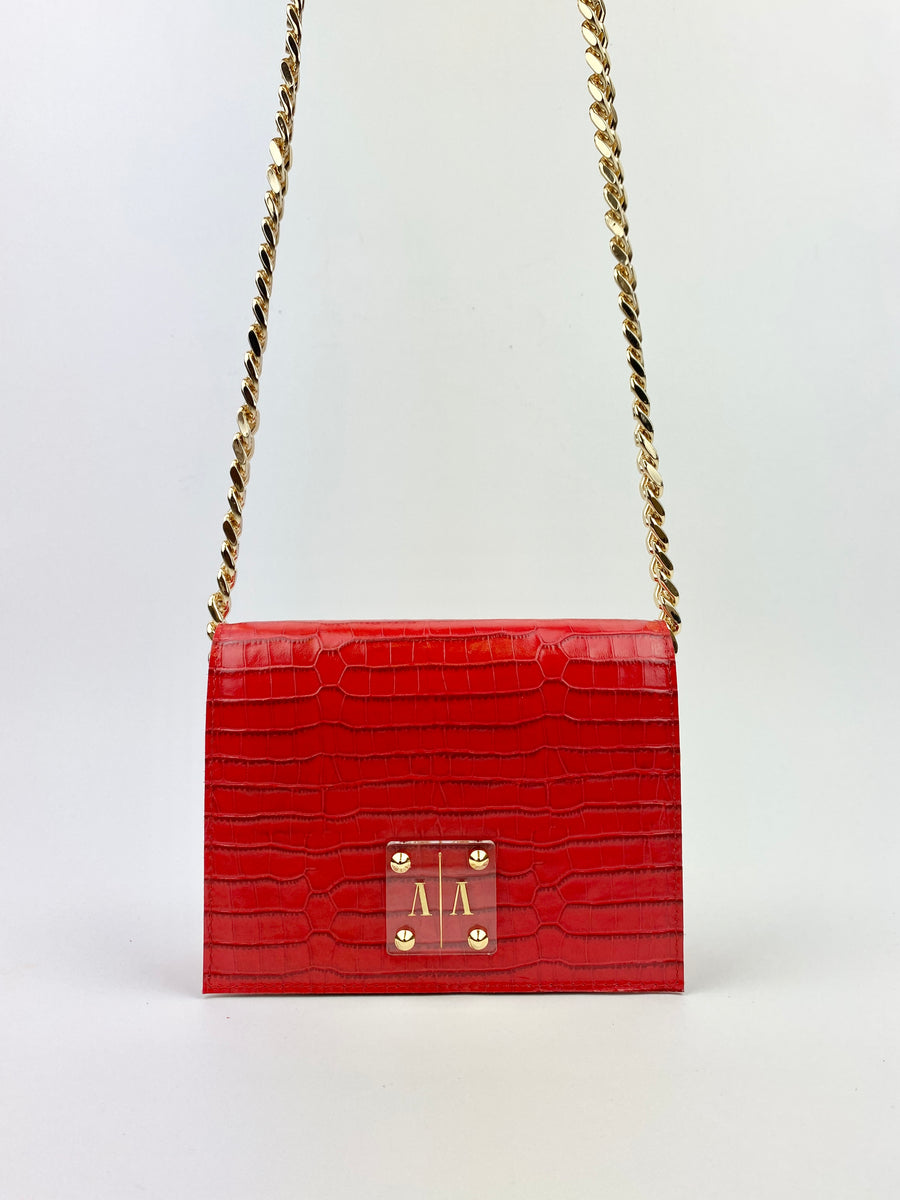 ARIAN BAG | CHERRY RED EMBOSSED w. TASSEL