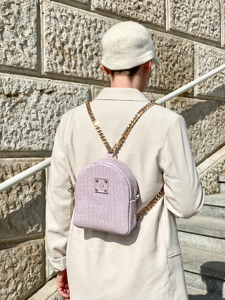 DORA XS BACKPACK | LILAC PATENT EMBOSSED