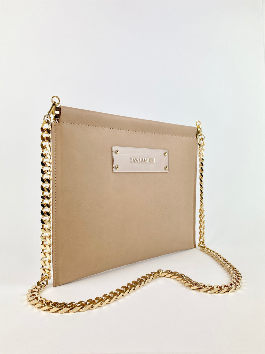 MARLENE CLUTCH  |  NUDE SMOOTH LEATHER
