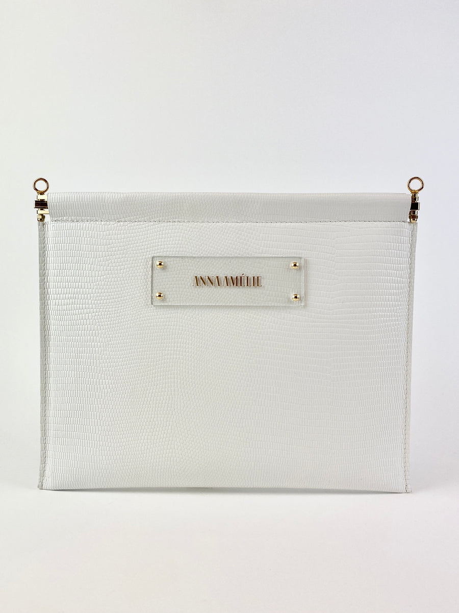 MARLENE CLUTCH  |  WHITE EMBOSSED LEATHER
