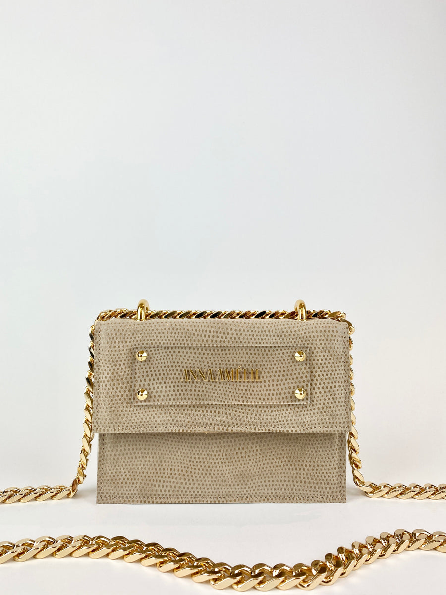 JUNE BAG  |  TAUPE SPOTTED SUEDE