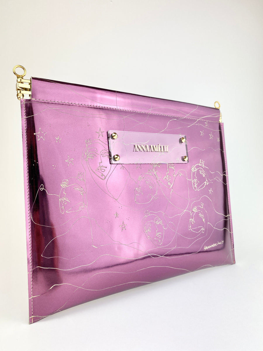 MARLENE  CLUTCH  |  PURPLE METALLIC w. UNIQUE DRAWING