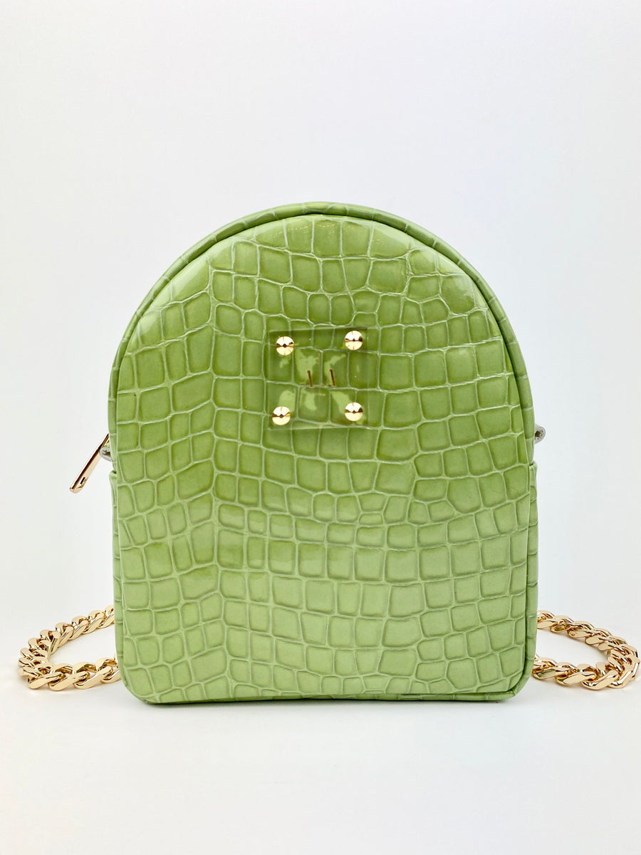 DORA XS BACKPACK | PISTACHIO GREEN PATENT EMBOSSED