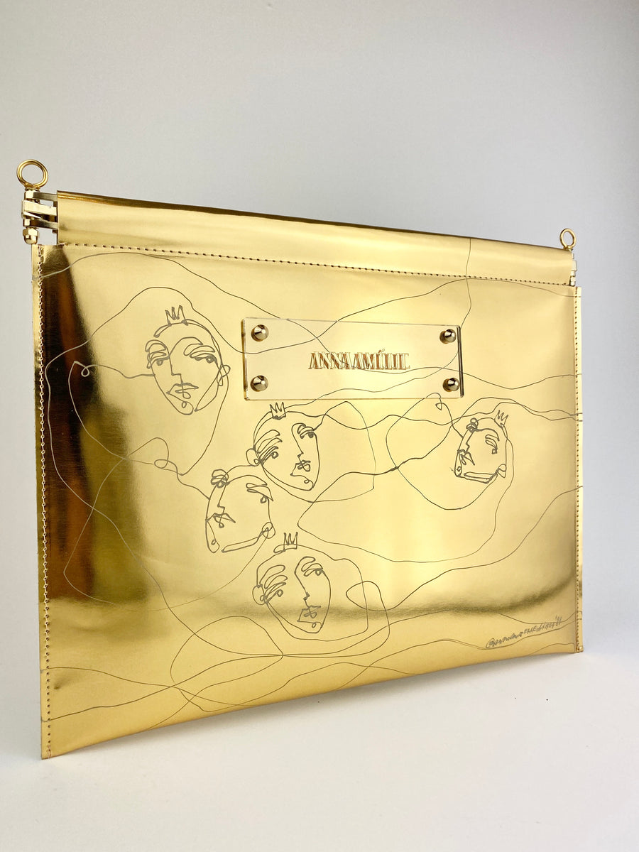MARLENE  CLUTCH  |  GOLD METALLIC w. UNIQUE DRAWING