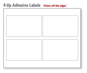 "4 Up 4"" x 5"" Gloss Adhesive Labels 7 Mil Rem. 250 Sheets"