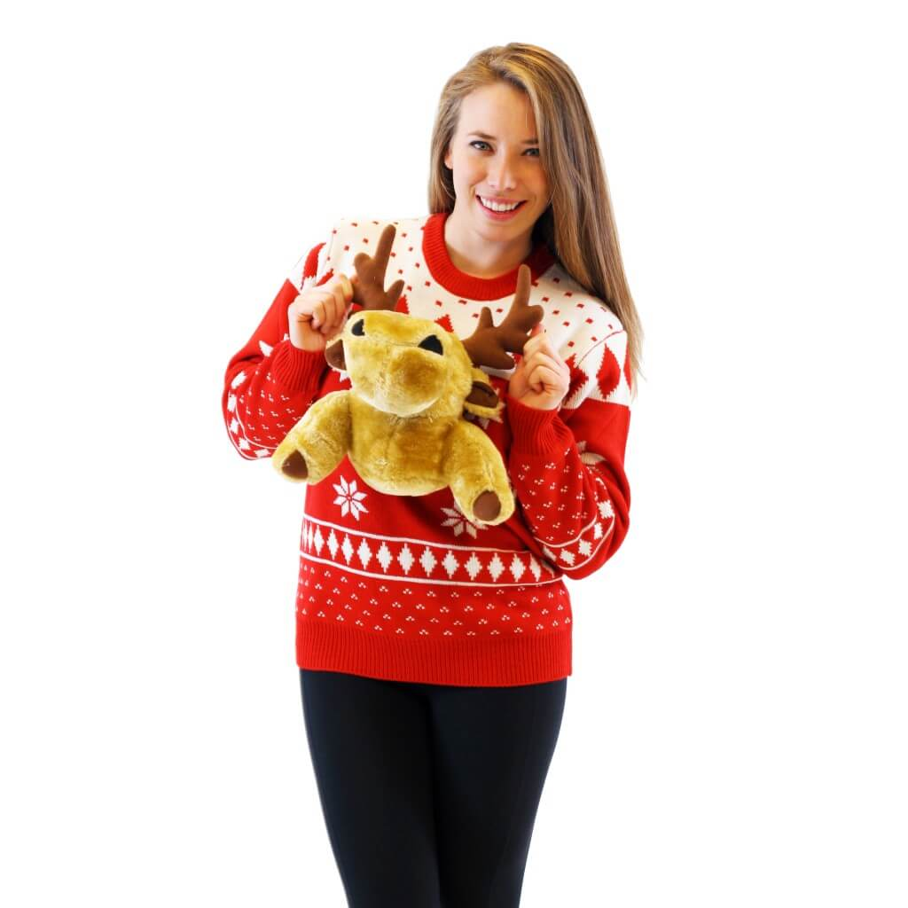 Women's Red 3D Christmas Sweater with Stuffed Moose