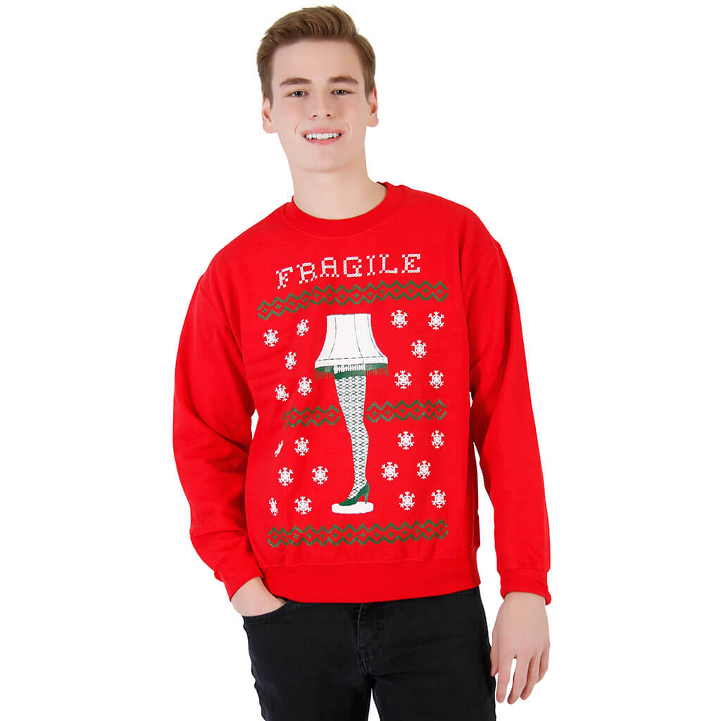 womens a christmas story fragile leg lamp red sweatshirt 1