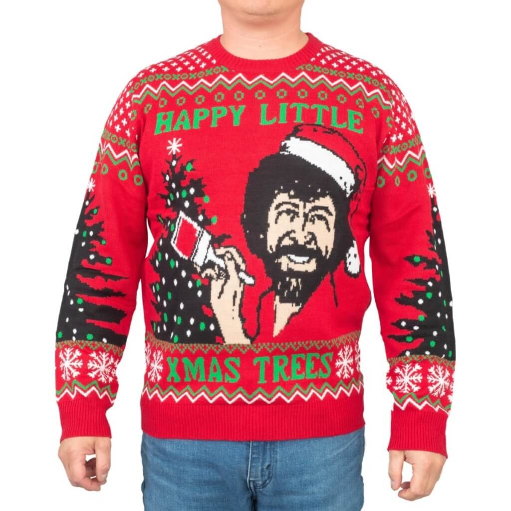 Bob Ross Happy Little Xmas Trees Ugly Christmas Sweater