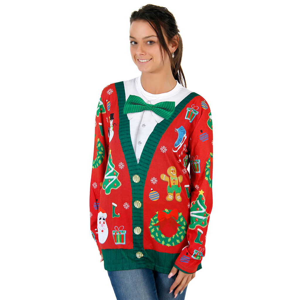 Women's Christmas Cardigan with Bow Long Sleeve All Over Print Shirt