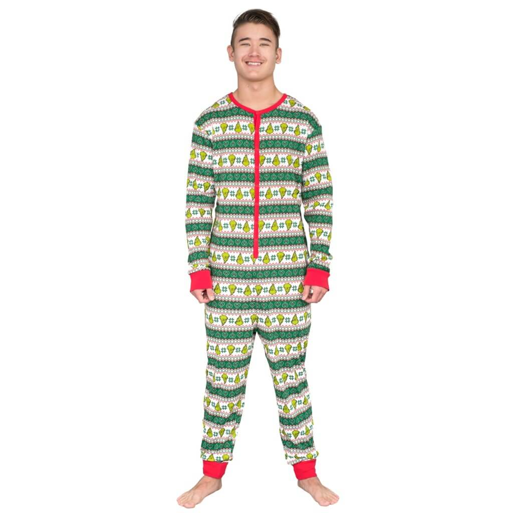 Grinch Family Faces Christmas Pajama Union Suit