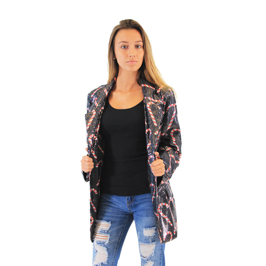 Women's Sequin Candy Cane Blazer Jacket